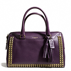 COACH HALEY STUDDED LEATHER SATCHEL - AB/BLACK VIOLET - F26404