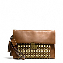 COACH STUDDED LEATHER LOCK CLUTCH - ONE COLOR - F26408