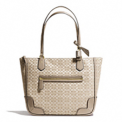 COACH POPPY SIGNATURE C METALLIC OUTLINE SMALL TOTE - BRASS/KHAKI/KHAKI - F26414
