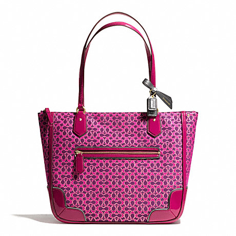 COACH POPPY SMALL TOTE IN METALLIC SIGNATURE -  BRASS/MAGENTA/MAGENTA - f26414