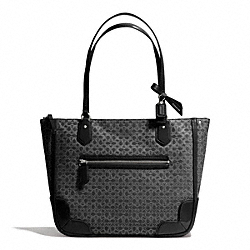 COACH POPPY SIGNATURE C METALLIC OUTLINE SMALL TOTE - SILVER/BLACK/BLACK - F26414