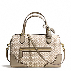 COACH POPPY EAST/WEST SATCHEL IN SIGNATURE METALLIC OUTLINE FABRIC - BRASS/KHAKI/KHAKI - F26426