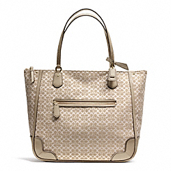 COACH POPPY SIGNATURE C METALLIC OUTLINE TOTE - BRASS/KHAKI/KHAKI - F26427