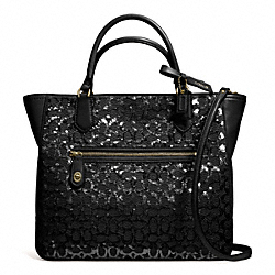 COACH POPPY SEQUIN SIGNATURE C SMALL BLAIRE TOTE - BRASS/BLACK - F26432