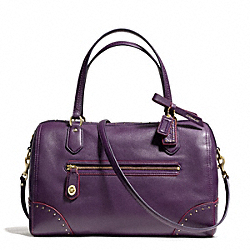 POPPY EAST/WEST SATCHEL IN STUDDED LEATHER - f26434 - BRASS/BLACK VIOLET