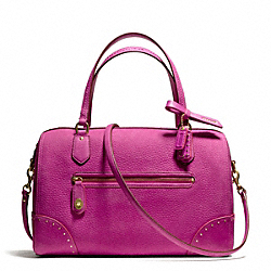 POPPY EAST/WEST SATCHEL IN STUDDED LEATHER - f26434 - BRASS/BRIGHT MAGENTA