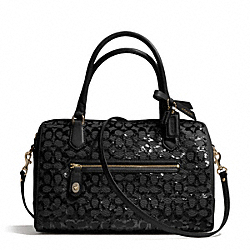COACH POPPY SEQUIN SIGNATURE C EAST/WEST SATCHEL - BRASS/BLACK - F26438