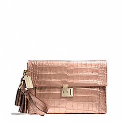 COACH LIQUID METALLIC CROC LOCK CLUTCH - GOLD/ROSEGOLD - F26446