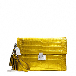 COACH LIQUID METALLIC CROC LOCK CLUTCH - SILVER/MOLTEN YELLOW - F26446
