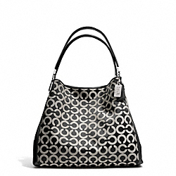 COACH MADISON OP ART SATEEN SMALL PHOEBE SHOULDER BAG - SILVER/BLACK/WHITE/BLACK - F26448