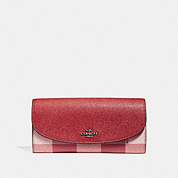 SLIM ENVELOPE WALLET WITH BUFFALO PLAID PRINT - BLUSH MULTI/BLACK ANTIQUE NICKEL - COACH F26453