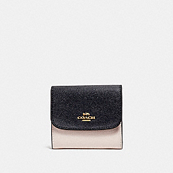 SMALL WALLET IN COLORBLOCK - MIDNIGHT/CHALK/LIGHT GOLD - COACH F26458