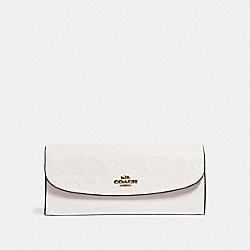 COACH SOFT WALLET IN SIGNATURE LEATHER - CHALK/LIGHT GOLD - F26460