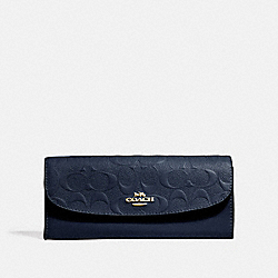 SOFT WALLET IN SIGNATURE LEATHER - MIDNIGHT/LIGHT GOLD - COACH F26460