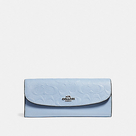 COACH SOFT WALLET IN SIGNATURE LEATHER - SILVER/POOL - f26460