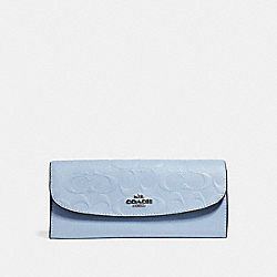 SOFT WALLET IN SIGNATURE LEATHER - SILVER/POOL - COACH F26460