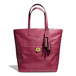 COACH LEATHER TURNLOCK TOTE - BRASS/DEEP PORT - F26461