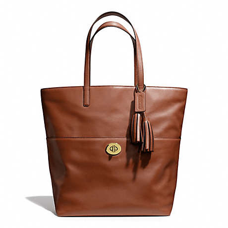 COACH f26461 LEATHER TURNLOCK TOTE BRASS/COGNAC