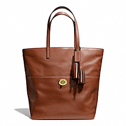 LEATHER TURNLOCK TOTE - f26461 - BRASS/COGNAC