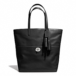 LEATHER TURNLOCK TOTE - f26461 - SILVER/BLACK