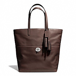 TURNLOCK TOTE IN LEATHER - f26461 - SILVER/MIDNIGHT OAK