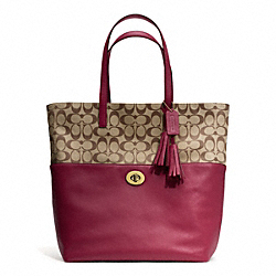 COACH SIGNATURE TURNLOCK TOTE - BRASS/KHAKI/DEEP PORT - F26476