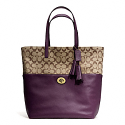 COACH SIGNATURE TURNLOCK TOTE - BRASS/KHAKI/BLACK VIOLET - F26476