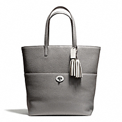 COACH PEBBLED LEATHER TURNLOCK TOTE - SILVER/GRAPHITE - F26477