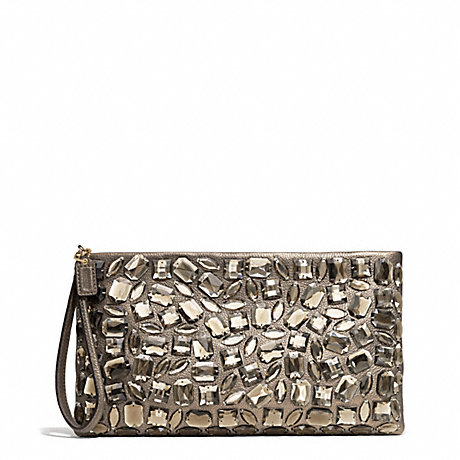 COACH f26485 MADISON ZIP CLUTCH IN JEWELED LEATHER
