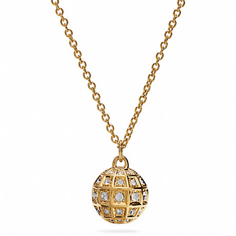 COACH LONG BEVELED PAVE BALL NECKLACE -  - f26501