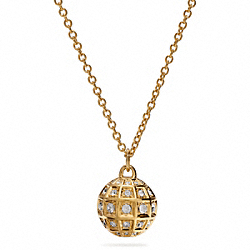 LONG BEVELED PAVE BALL NECKLACE - f26501 - 32064