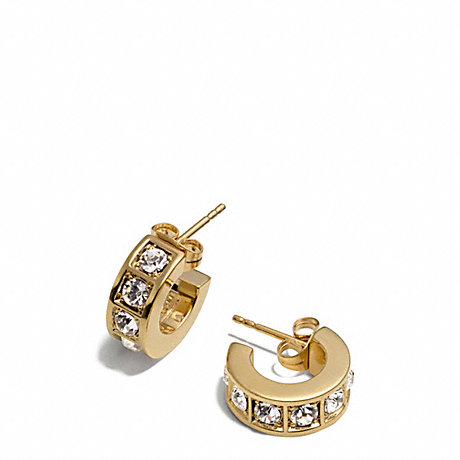 COACH BEVELED PAVE HUGGIE EARRINGS -  - f26503