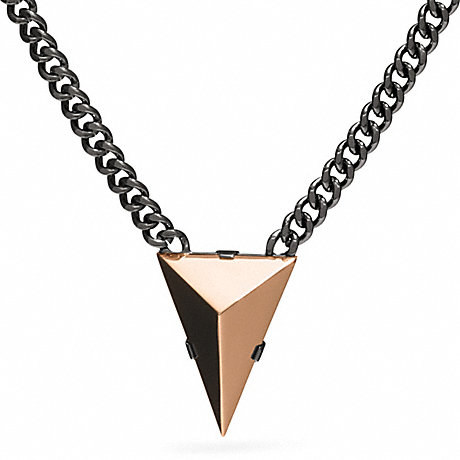 COACH SHORT PYRAMID SPIKE NECKLACE - BLACK - f26518