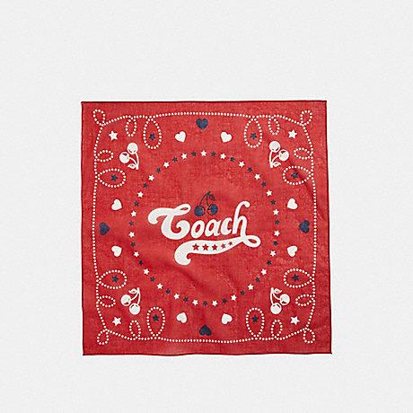 COACH COACH CHERRY BANDANA - DARK RED - f26598