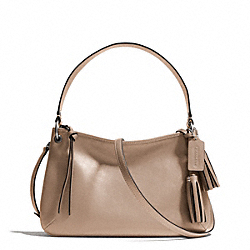 COACH LEATHER DOUBLE GUSSET CROSSBODY - SILVER/LIGHT KHAKI - F26601