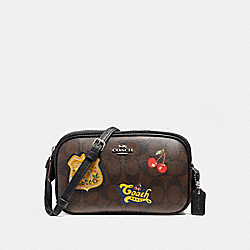 COACH CROSSBODY POUCH IN SIGNATURE CANVAS WITH AMERICAN DREAMING PATCHES - BROWN BLACK/MULTI/SILVER - F26608