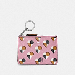 COACH MINI ID SKINNY WITH CHECKER HEART PRINT - SILVER/BLUSH MULTI - F26615