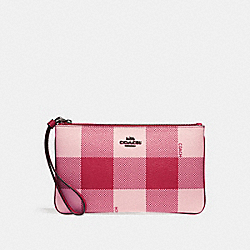 LARGE WRISTLET WITH BUFFALO PLAID PRINT - BLUSH MULTI/BLACK ANTIQUE NICKEL - COACH F26620
