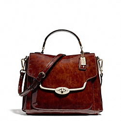 COACH MADISON PATENT SMALL SADIE FLAP SATCHEL - LIGHT GOLD/TORTOISE - F26622