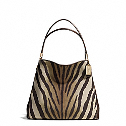 COACH MADISON ZEBRA PRINT SMALL PHOEBE SHOULDER BAG - LIGHT GOLD/BROWN MULTI - F26637