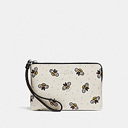 CORNER ZIP WRISTLET WITH BEE PRINT - CHALK MULTI/SILVER - COACH F26652