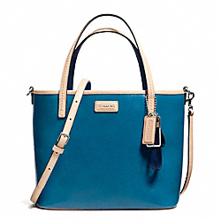 COACH PARK METRO PATENT SMALL TOTE - SILVER/TEAL - F26731