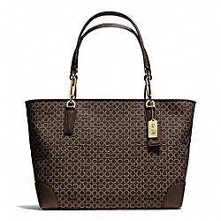 COACH MADISON EAST/WEST TOTE IN OP ART NEEDLEPOINT FABRIC - LIGHT GOLD/MAHOGANY - F26767