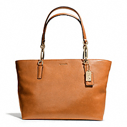 COACH MADISON LEATHER EAST/WEST TOTE - LIGHT GOLD/ORANGE SPICE - F26769