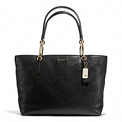 COACH MADISON LEATHER EAST/WEST TOTE - LIGHT GOLD/BLACK - F26769
