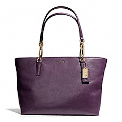 COACH MADISON LEATHER EAST/WEST TOTE - LIGHT GOLD/BLACK VIOLET - F26769