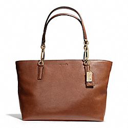 COACH MADISON LEATHER EAST/WEST TOTE - LIGHT GOLD/CHESTNUT - F26769