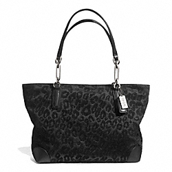 COACH MADISON CHENILLE OCELOT EAST/WEST TOTE - SILVER/BLACK - F26770