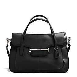 COACH TAYLOR LEATHER MARIN FLAP SATCHEL - SILVER/BLACK - F26781