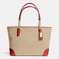COACH MADISON OP ART NEEDLEPOINT FABRIC EAST/WEST TOTE - LIGHT GOLD/KHAKI/LOVE RED - F26806